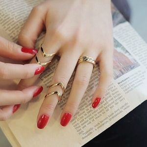 Jewelry - Chevron Gold Midi Knuckle Ring 3pc Set Adjustable